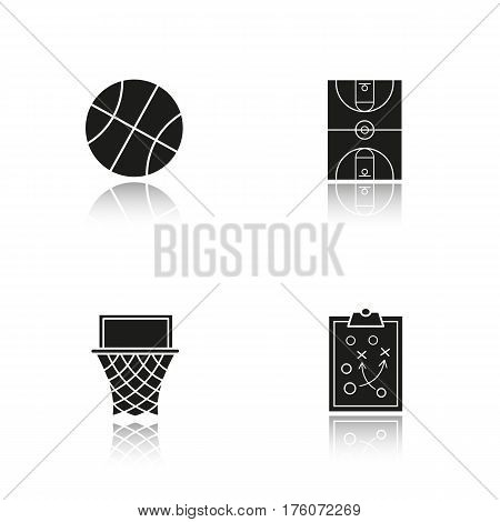Basketball drop shadow black icons set. Basketball hoop, court, ball and clipboard game plan. Isolated vector illustrations