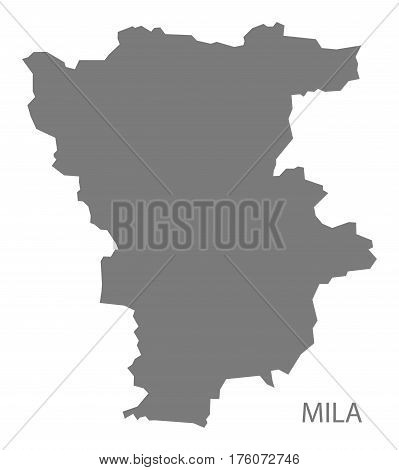 Mila Algeria map grey illustration silhouette province