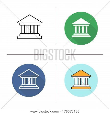 Courthouse icon. Flat design, linear and color styles. Bank building. Isolated vector illustrations