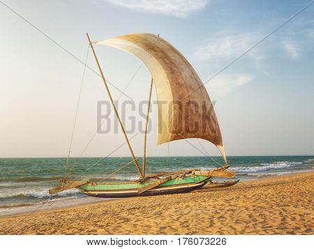 Fishermen's Catamaran on the Beach near Negombo, Sri Lanka