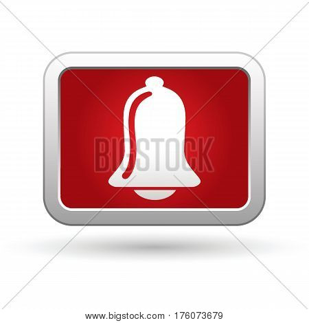Ringing bell icon on the button. Vector illustration