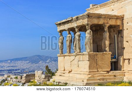 ruins of ancient temple on Acropolis hill, Athens