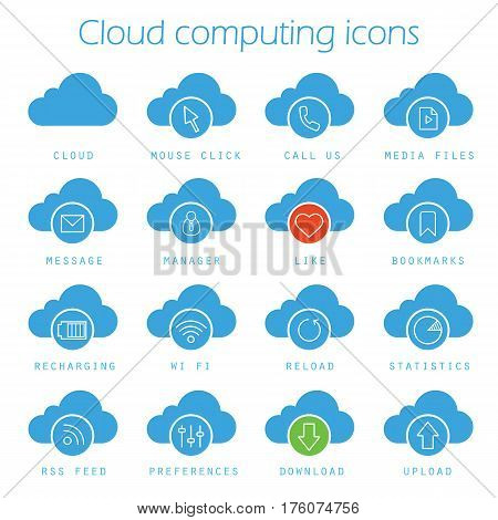 Cloud computing icons set. Web storage silhouette symbols. Mouse click, bookmarks, statistics, recharging, wifi, download and upload web hosting symbols. Vector isolated illustration