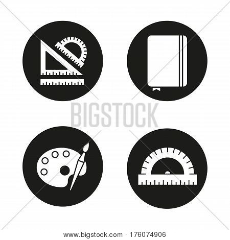 School and education icons set. Stationery items. School rulers, diary notebook, palette with brush. Vector white silhouettes illustrations in black circles
