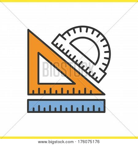 School rulers color icon. Protractor, transparent and ruler. Geometry symbol. Isolated vector illustration