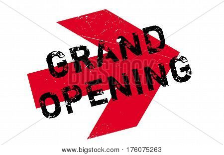 Grand opening stamp. Grunge design with dust scratches. Effects can be easily removed for a clean, crisp look. Color is easily changed.