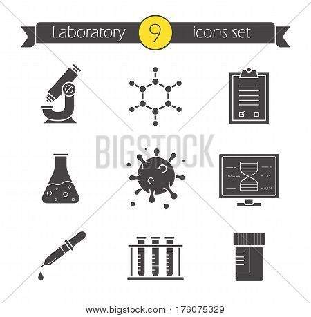 Science laboratory icons set. Silhouette symbols. Microscope, molecular structure, tests checklist, beaker with liquid, virus, lab computer, pipette, test tubes and jar. Vector isolated illustration