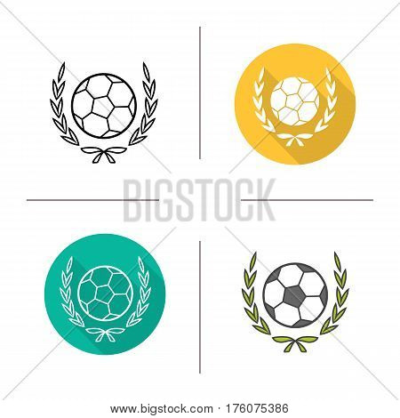 Football championship league icon. Flat design, linear and color styles. Soccer ball in laurel wreath. Isolated vector illustrations