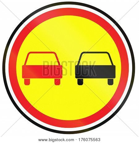 Belarusian Regulatory Road Sign - No Overtaking