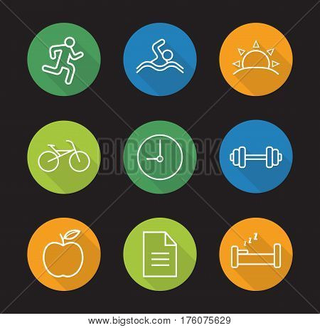 Healthy lifestyle flat linear long shadow icons set. Daily timetable. Runner, swimmer, sunrise, bike, clock, gym barbell, apple, file, bed. Vector line illustration