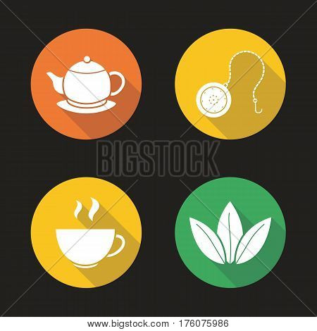 Tea flat design long shadow icons set. Steaming cup, teapot on plate, loose tea leaves and ball infuser. Vector silhouette illustration