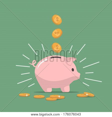 Pink piggy bank with falling coins. The concept of saving money or open a bank deposit. Investments in future. Isolated vector illustration piggy bank in flat style.