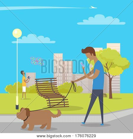 Boy walks with dog in park and uses smartphone. Guy behind him plays with quadrocopter. Green tree, wooden bench near bushes, skyscrapers, streetlight in park and airplane crosses sky vector