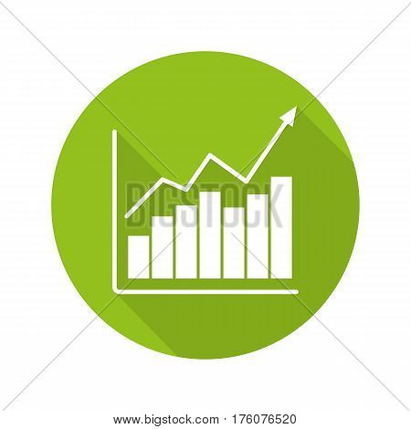 Market growth chart flat design long shadow icon. Diagram. Business statistics graph. Vector silhouette symbol