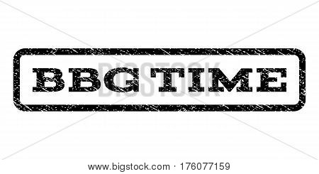 Bbg Time watermark stamp. Text tag inside rounded rectangle frame with grunge design style. Rubber seal stamp with scratched texture. Vector black ink imprint on a white background.