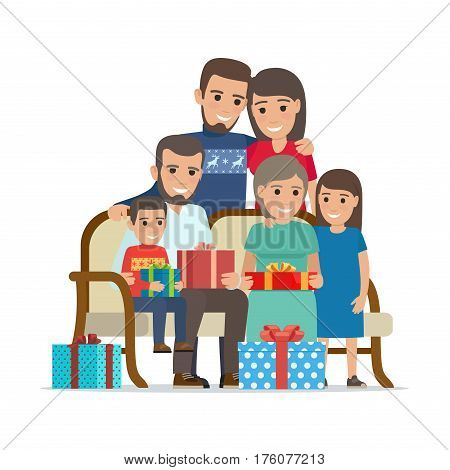 Family gathered together and holding present boxes. Vector illustration of children with grandmother and uncle sitting on sofa with gifts and mother with father behind. Holiday present concept