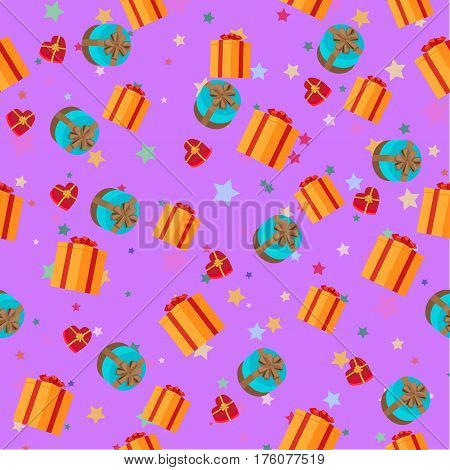 Present boxes of different shape on purple background with stars seamless cartoon holiday pattern. Wallpaper design, wrapping paper for celebrating holidays isolated vector illustration.