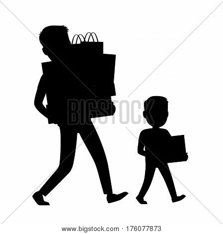 Father and Son silhouettes carrying purchases. Commercial shopping process icon with white background. Vector illustration of walking man and boy holding paper bags with handles and gift boxes