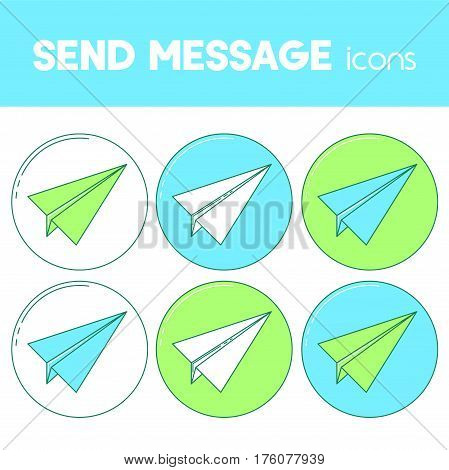 Send Message Line Design Icon, Paper Plane Set.