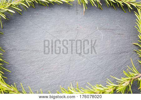 Rosemary as frame slate board, texture, blackboard
