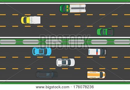 Asphalt highway with six lines and eight means of transportation. Vector illustration in flat style of fast vehicle that move on road in opposite directions. Movement process on long isolated way