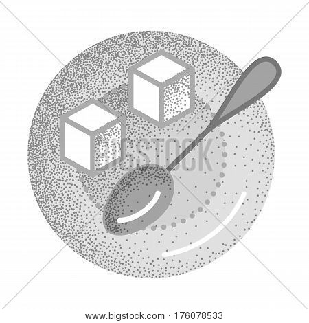 Set of black and white vintage tea icons with retro texture. Refined sugar cubes and spoon on plate. Ingredient for sweet tea or coffee. Vector vintage icon. Illustration isolated on white background.