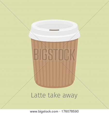 Latte coffee in closed paper cup for take away on yellow background with sign. Kind of Italian coffee. Take away hot drink icon. Minimalist isolated vector illustration for coffee shops and cafes.