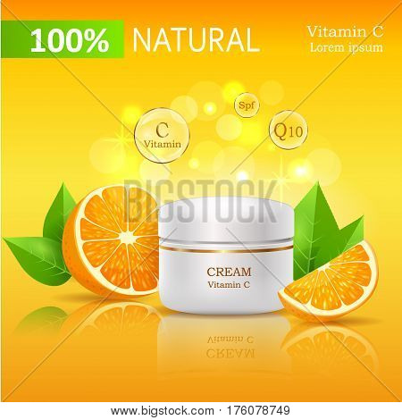 Natural cream with Vitamin C, SPF and Q10. Cream bank beside oranges with leaves on yellow background with text. Advertisement of natural organic cosmetics. Means for skin care vector illustration.