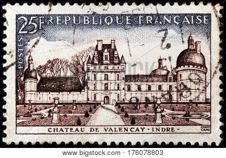 LUGA RUSSIA - FEBRUARY 7 2017: A stamp printed by FRANCE shows beautiful view of Chateau de Valencay in the commune of Valencay the Indre department of France circa 1957