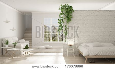 Scandinavian White Minimalist Living With Bedroom, Open Space, One Room Apartment, Classic Interior