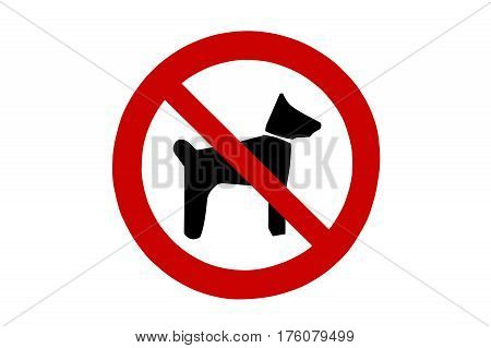 Dogs not allowed sign on a white