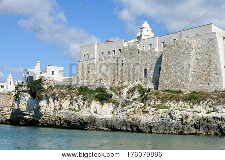 Vieste, Italy - 29 June 2016: Church in town of Vieste on Puglia Italy
