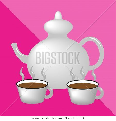 Teapot and teacups. Kitchen utensils and equipment icon.