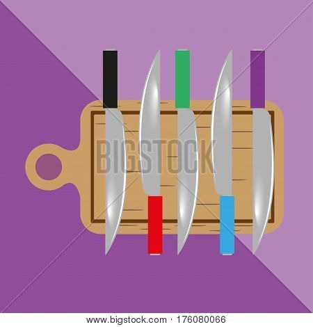 Cutting boards and knives. Kitchen utensils and equipment icon.