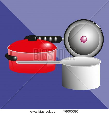 Pans, pots and a kitchen ladle. Kitchen utensils and equipment icon.