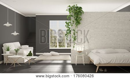 Scandinavian White And Gray Minimalist Living With Bedroom, Open Space, One Room Apartment, Classic