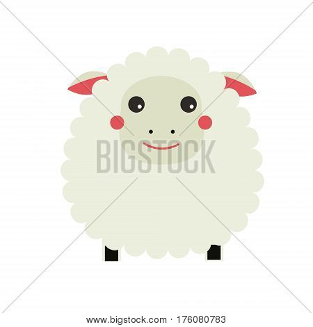 Cute sheep cahracter. Little lamb. Children style isolated design element vector illustration
