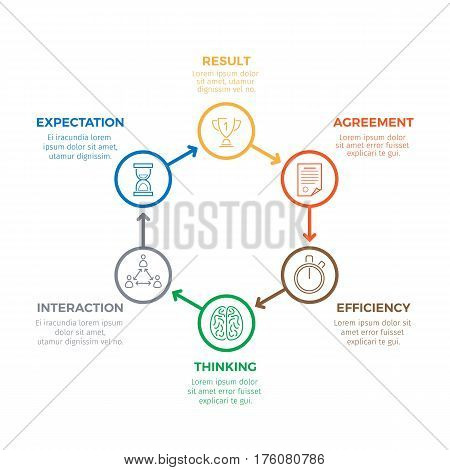 Business successful winning infographic concept in circle of round labels with information on white. Vector banner in flat design of working efficiency, thinking and interaction, making deal