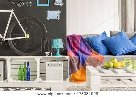 Cosy and colourful room of the student