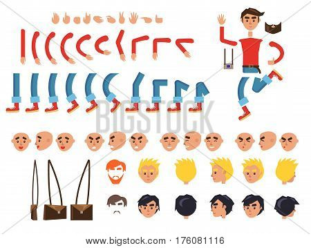 Male person character colorful constructor on white. Vector banner of human bent legs and arms, emotion types on faces, finger signs, colored hairstyles and brown bag. Build your own design set