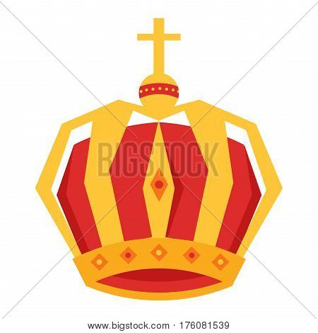 Mardi Gras. Gold and red king crown with gems and cross at top isolated on white background. Ancient kings headgear icon. Medieval symbol of monarch power and authority vector illustration.