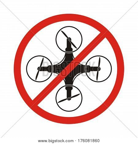 No drones sign Drones free area. Drones flights limitations in public places vector sign isolated on white background