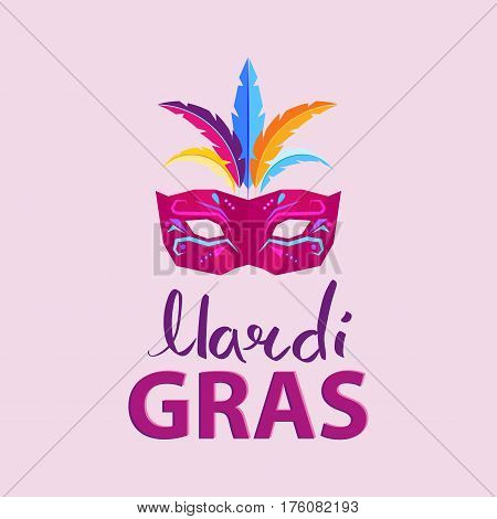 Mardi Gras. Carnival invitation poster with mask with colored feathers illustration and big inscription on pink background. Big festival promotion. Vector illustration of advertisement signboard.
