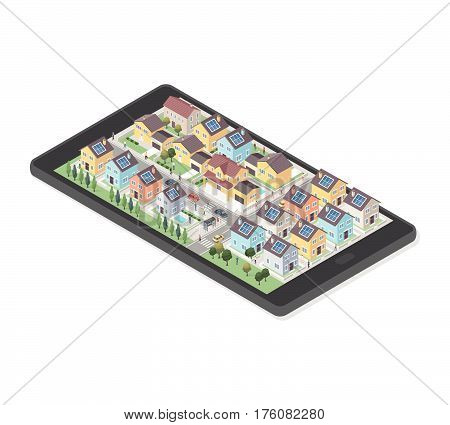 Residential area with smart homes people and cars on a smartphone augmented reality and real estate concept