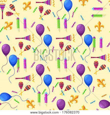 Mardi Gras attributes endless colorful vector texture. Collection of violet and blue balloons, striped firework rockets, serpentine lines and maracas elements on beige background seamless pattern.