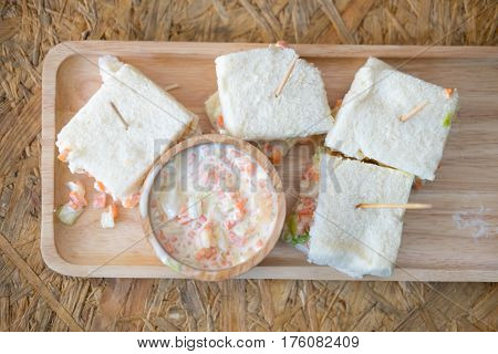 Sandwiches with coleslaw fillings and coleslaw salad