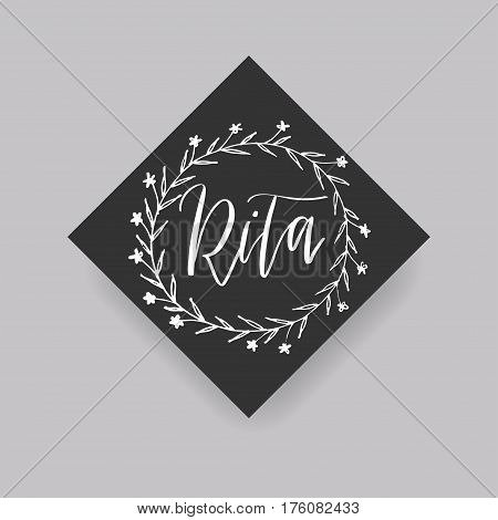 Rita - common female first name on a tag, perfect for seating card usage. One of wide collection in modern calligraphy style.