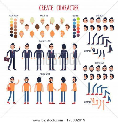 Create character poster of men in various positions wearing clothes in business and casual style. Hair and skin style round signs collection, moving human legs and arms and set of face emotions.