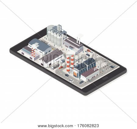Isometric industrial park area with factories power plant and people on a smartphone industry and augmented reality concept
