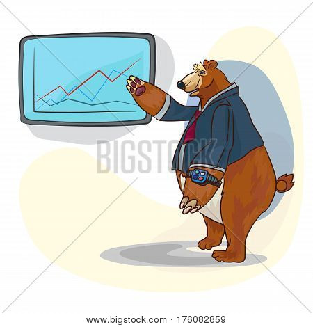 funny big bear as a business person, showing something on a board